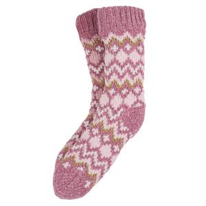 Ladies Boxed Fairisle Slipper Socks Pink