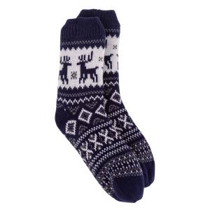 Mens Slipper Socks Reindeer Bxed Navy
