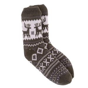 Mens Slipper Socks Reindeer Bxed Khaki