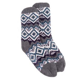Mens Socks Chunky Fairisle Bxed Grey Chenille