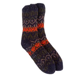 Men's Boxed Chunky Slipper Socks In Fairisle Design Navy