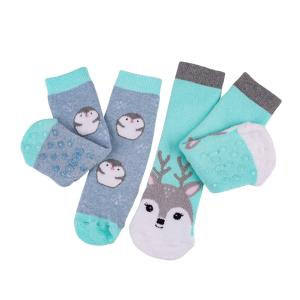 Childrens 2Pack Boxed Slipper Socks Penguin Deer