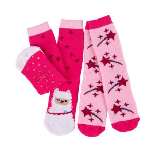 Childrens 2Pack Boxed Slipper Socks Llama Stars