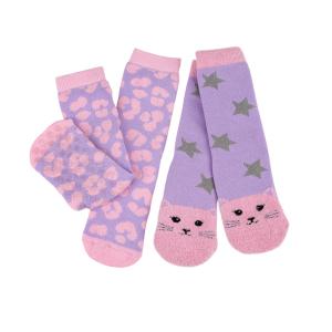Childrens 2Pack Boxed Slipper Socks Cat Leopard