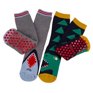 Childrens 2Pack Boxed Slipper Socks Shark Dino