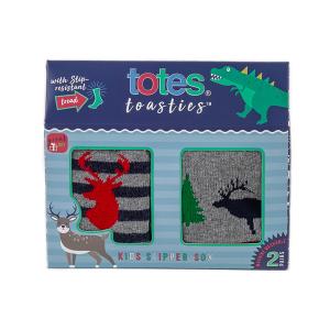 Childrens 2Pack Boxed Slipper Socks Stag Trees