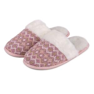 Slipper Fairsle Knitted Mule Boxed Pink Multi