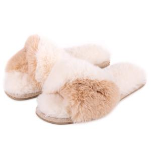 Ladies Boxed Faux Fur Slider Cream