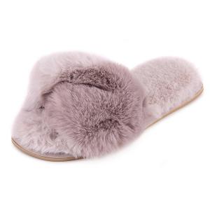 Ladies Boxed Faux Fur Slider Grey