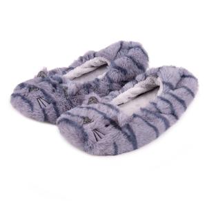 Ladies Boxed Novelty Footsie Slipper Blue