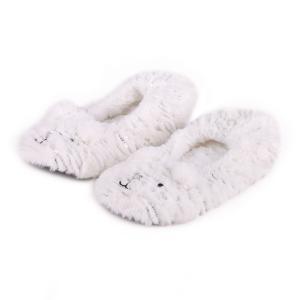 Ladies Boxed Novelty Footsie Slipper White