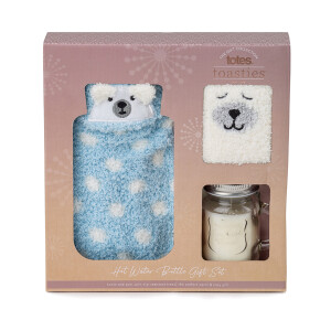 Cosy Socks, Hot Water Bottle And Candle Gift Set