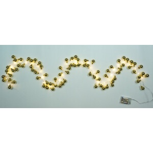 Bauble Gold LED Christmas Garland