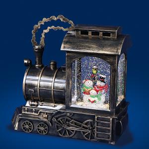 Bronze Train Water Spinner With Santa Snowman Scene
