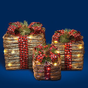 3 Glitter Rattan LED Parcels Red Bow ,Cones and Berries.
