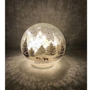 Christmas Winter Woodland Scene LED Crackle Glass Ball