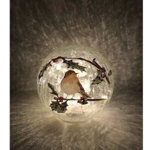 Battery Operated Robin Warm White LED Crackle Glass Ball