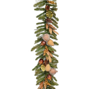 Luxury Pine Garland with Bronze and Gold Fruit and Foliage 6ft