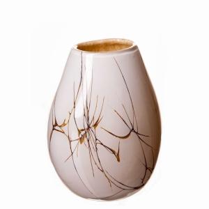 Vase Oval Sm Cream Marble 20Cm