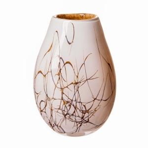 Vase Oval Lg Cream Marble 30Cm