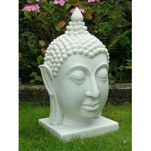 Thai Buddha Head Bust White