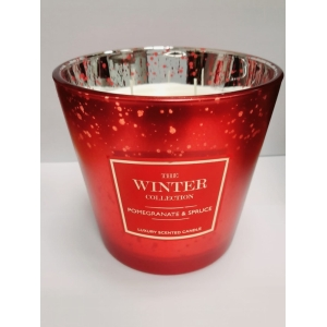 Winter Col Red 3 Wick Candle Pomegranate + Spruce