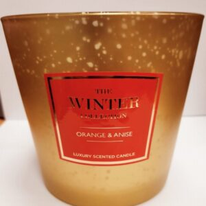 Winter Col Gold 3 Wick Candle Orange + Anise