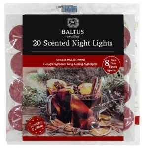 8Hr Burn Tea Lights Mulled Wine 20Pk