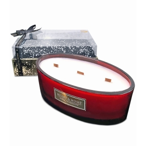 4 Wick Ellipse Candle Frosted Apple Spice Red