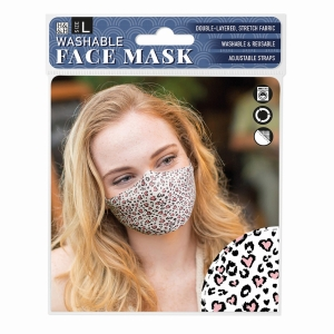 Face Mask Pink Heart Safari