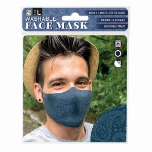 Face Mask Dark Blue Paisley