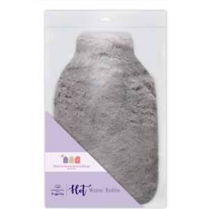 Square Hot Water Bottle Bunny Fur Grey