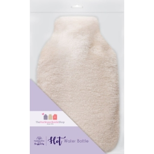 Square Hot Water Bottle Bunny Fur Cream