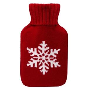 Mini Hot Water Bottle Winter Red