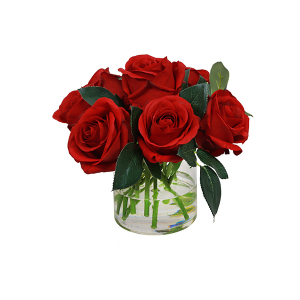 Rose Bouquet In Vase Red Sml