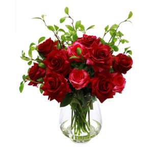 Rose And Greenary Bouquet In Vase Red Lge