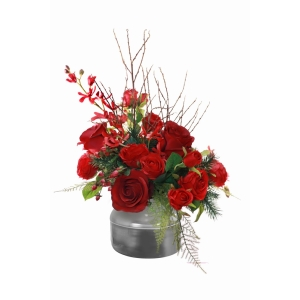 Roses Berry + Pine Bouquet In Silver Holder Red