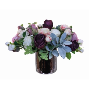 Mixed Purple + White Bouquet In Silver Holder