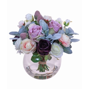 Mixed Purple + Pink Roses In Vase