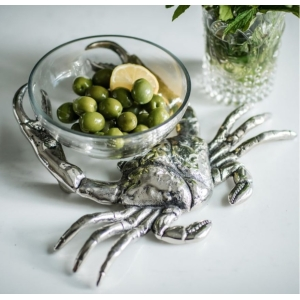 Crab Holding Glass Nibbles Dish