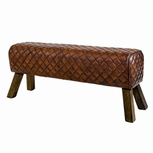 Leather Stool Large Diamond Stitch