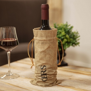 Hessian Bottle Bag With Wine Stopper