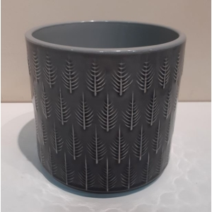 Leaf Embossed Planter Granite 13cm