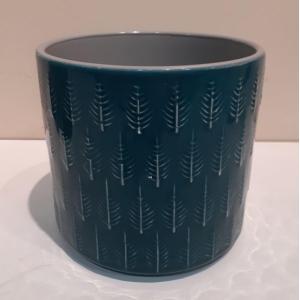 Leaf Embossed Planter Teal 13cm