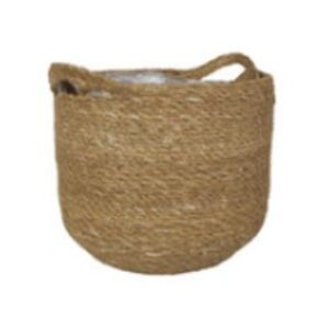 Natural Woven Basket With Liner 25cm