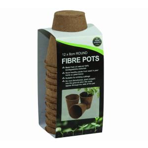 Round Fibre Pots 12Pk