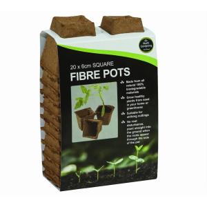 Square Fibre Pots 20Pk