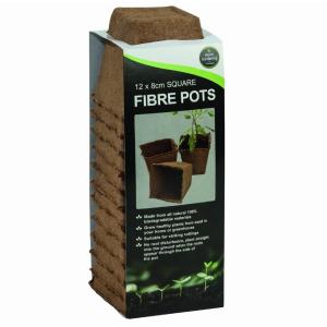 Square Fibre Pots 12Pk