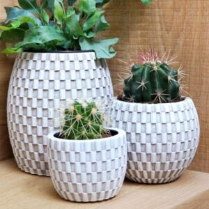 Wave Planter Ball Ivory 13cm