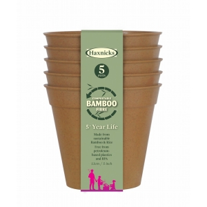 5 Bamboo Pot 5Pk Terracotta